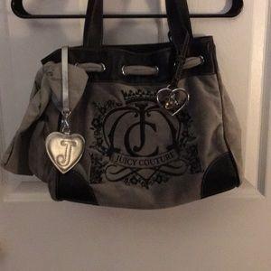 Juicy couture Large grey velour handbag